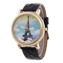 Fashion 3D Printing Eiffel Tower Flowers Women's Quartz Wristwatch Leather Women's Bracelet Watch Dress Watch Relogio Femininot