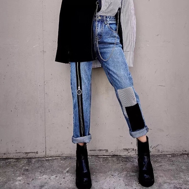 2019 Spring Autumn Fashion Ankle-length Pants Denim Patchwork Zipper Spliced High Waist High Straight Jeans