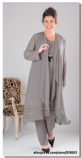 Elegant Gray Chiffon Mother Of The Bride Dresses Pants Suit With
