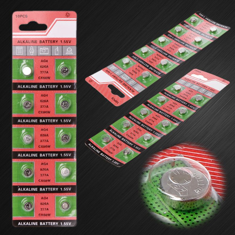 Wholesale 10PCS/lot =1cards AG4 377A 377 LR626 SR626SW SR66 LR66 button cell Watch Coin Battery