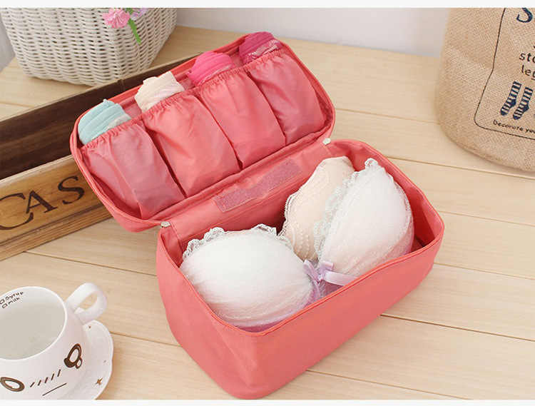 Women's Storage Bag Travel Necessity Accessories Underwear Clothes Bra Organizer Cosmetic Makeup Pouch Case zip lock plastic