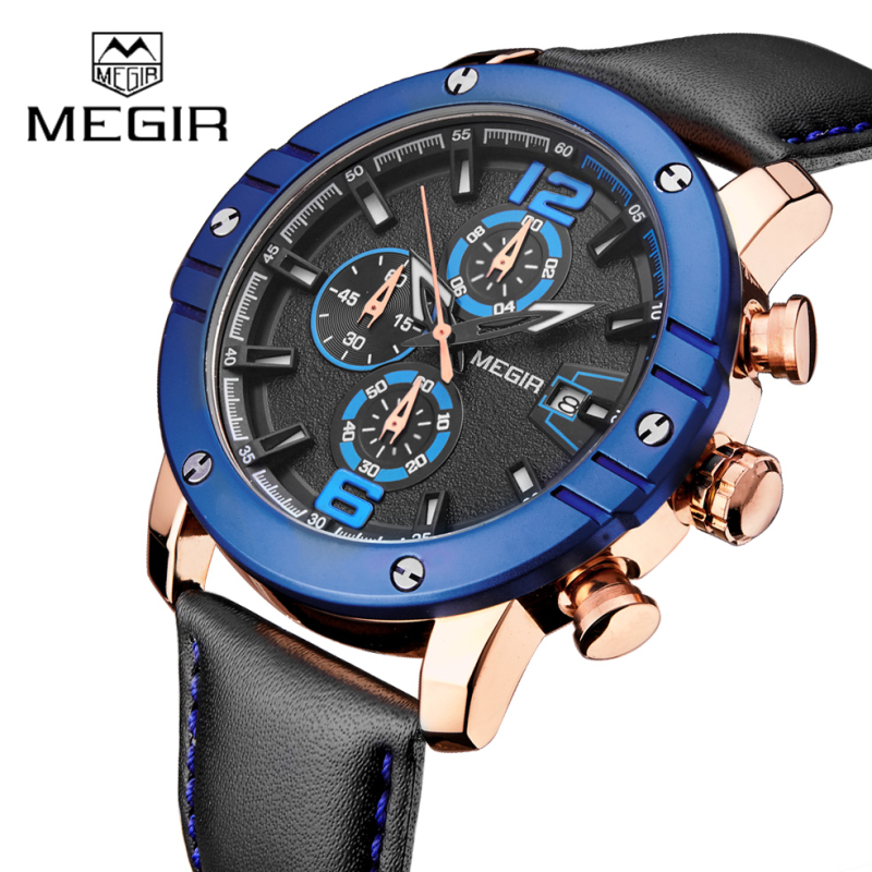 New Top Luxury Brand MEGIR Mens Watches Clock Men Military Sport Wristwatch Chronograph Leather Quartz Watch Relogio Masculino megir sport mens watches top brand luxury male leather waterproof chronograph quartz military wrist watch men clock saat 2017