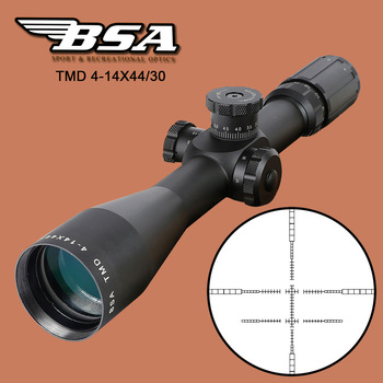 BSA TMD 4-14X44 FFP Hunting Riflescope First Focal Plane Glass Mil Dot Reticle Tactical Optics Sight with Windage Elevation Lock kandar 3 5 14x44 aoq first focal plane hunting riflescopes red green illuminated p4 glass etched reticle turrets lock scope