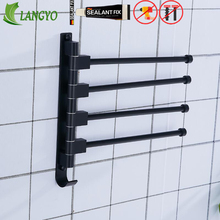 European black space aluminum bathroom towel rack rotating rod hotel 3 bar movable pole wall mounted