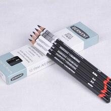ضوء قلم رصاص الفحم القابل للذوبان/متوسط/داكن 12 قطعة رسم احترافي لرسم الرسومات
