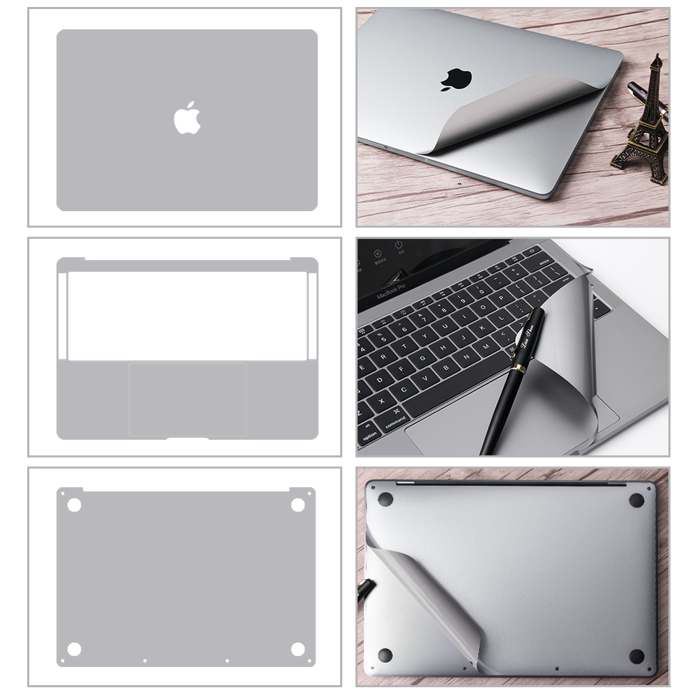 A1707 Metallic Space Gray Full-Size Body Skin Decal Cover For MacBook Pro 15 With Touch Bar, Body Skin, Palmrest Trackpad Sticke