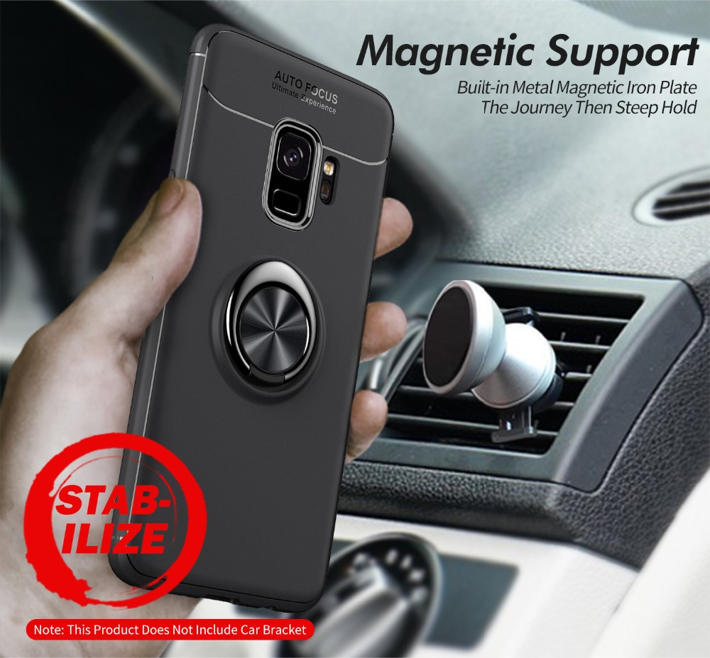 zuoyiki Luxury Magnetic Ring Stand Case  For samsung s8 s8plus  s9 s9plus Car Holder TPU Cover Case for note8  note9 case phone
