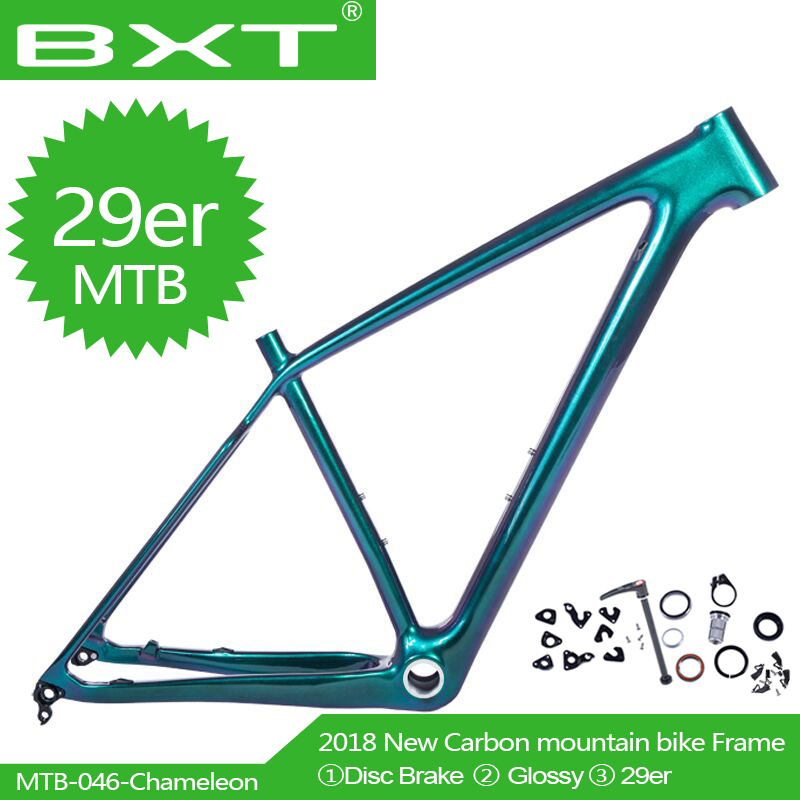 The latest MTB bicycle frame full Carbon Mountain Bike Frames Chameleon color BSA Compatible With 142*12mm Thru Axle and 135*9m