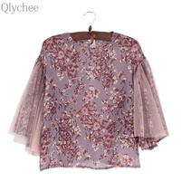 Qlychee Mesh Flare Sleeve See Through Blouse Women Female Lady Summer Loose O Neck Party Floral