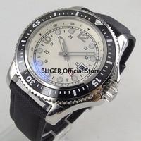 Casual BLIGER 44mm White Sterile Dial Black Ceramic Bezel Luminous Marks Calendar Display Miyota Automatic Movement Men's Watch