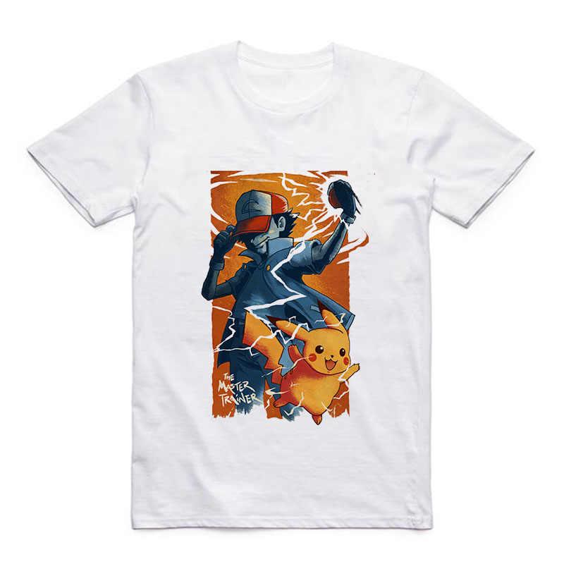 Camiseta de calle informal de moda para hombre Naruto Pokemon/pikachu/Sasuke/Trafalgar/Sanji