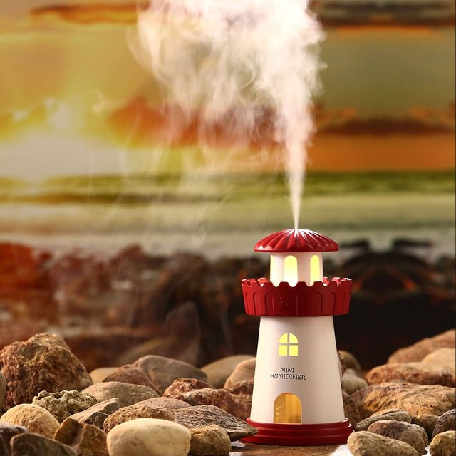 Lighthouse Air Humidifier Ultrasonic Mist Maker Fogger USB 150ml Humidifiers Freshener Purifier Aroma Diffuser Lamp