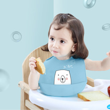 Cartoon Prints Kids Silicone Bib Baby Bibs Children Adjustable Waterproof Boy Girl Feeding Tools Stuff for Newborn