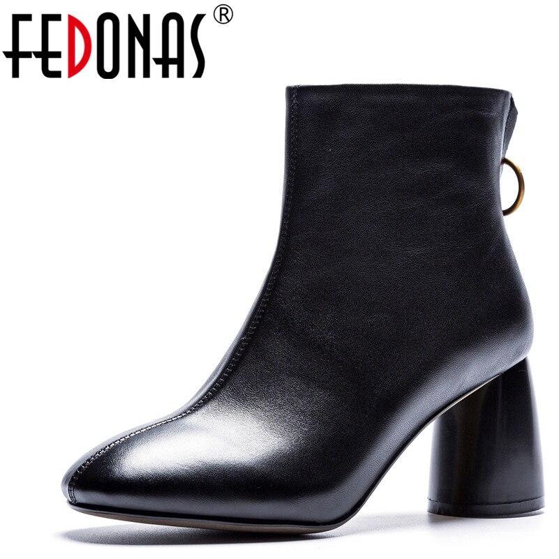 FEDONAS chaud automne hiver femmes bottines solide européenne dames chaussures femme en cuir véritable Zipper moto bottes
