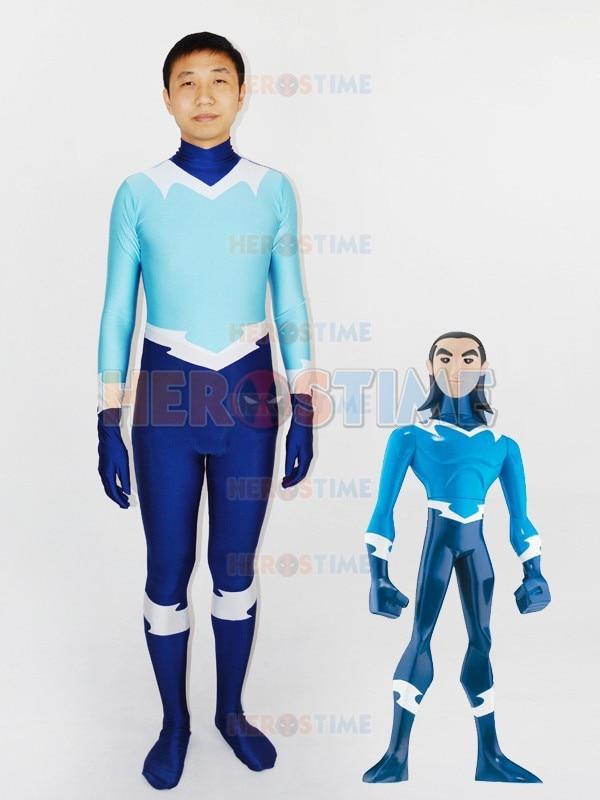 teen titans aqualad superhero costume blue light blue halloween spandex mens aqualad costume the most popular - Popular Tween Halloween Costumes