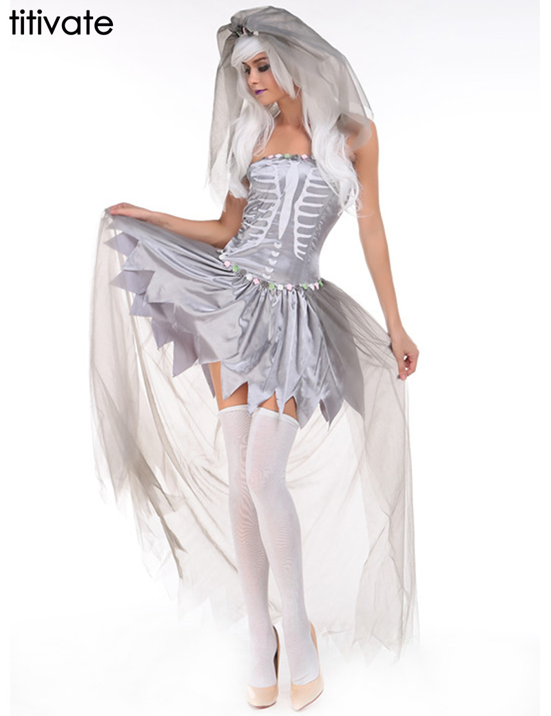 TITIVATE Witch Zombie Cosplay Ghost Bride Costume Halloween for Women Cosplay Spiritual Love White Costume for Party Dress