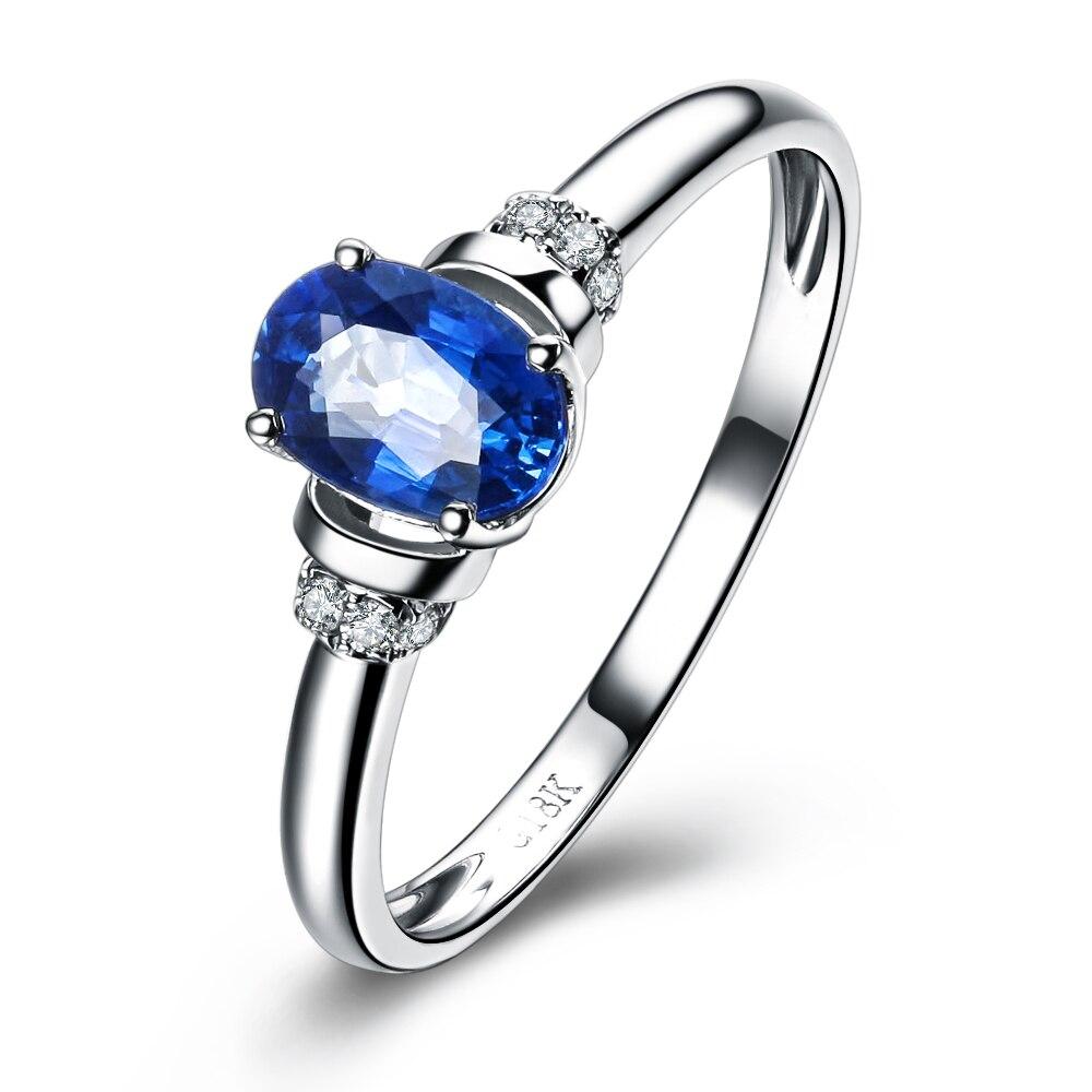 05 Carat Natural Sapphire Ring Gvbori 18k White Gold Wedding Ring Blue  Gemstone Fine Jewelry Valentine Engagement Ring