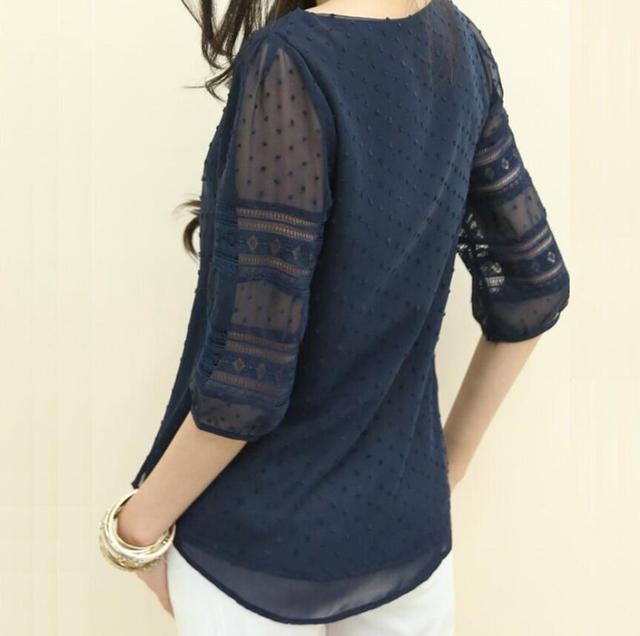 Summer Chiffon blouse women Hollow Half sleeve shirt Plus Size Casual ladies Tops shirt women blusas blusa feminina S-5XL 3
