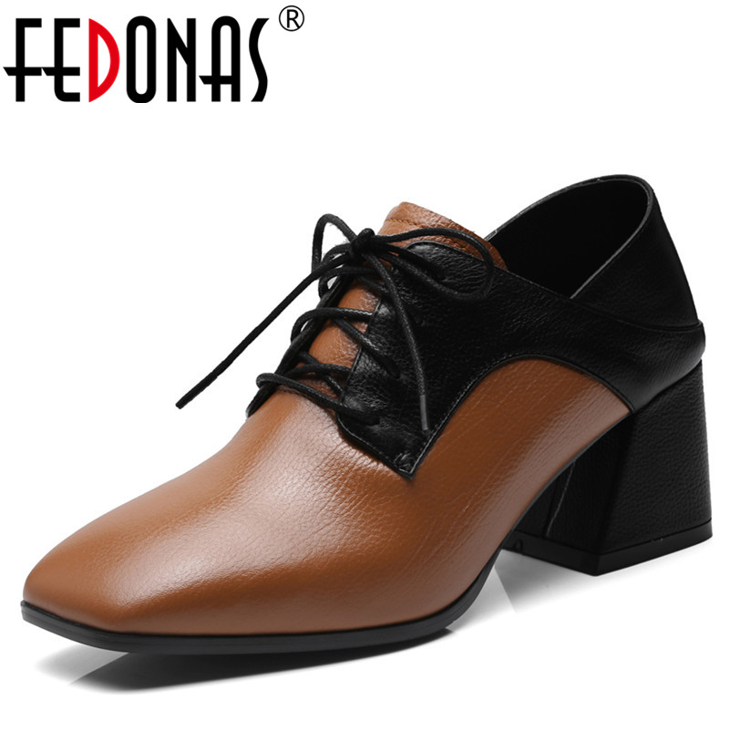 FEDONAS 2018 New Patchwork Women Genuine Leather Shoes Woman Retro Square Toe High Heeled Pumps Brand Lace Up Office Pumps simple women s pumps with lace up and chunky heeled design