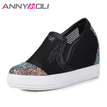 ANNYMOLI Women Shoes Bling Platform Wedges Increased Heels Slip On Med Heel Shoes Cut Out Large Size 44 45 Autumn Casual Pumps