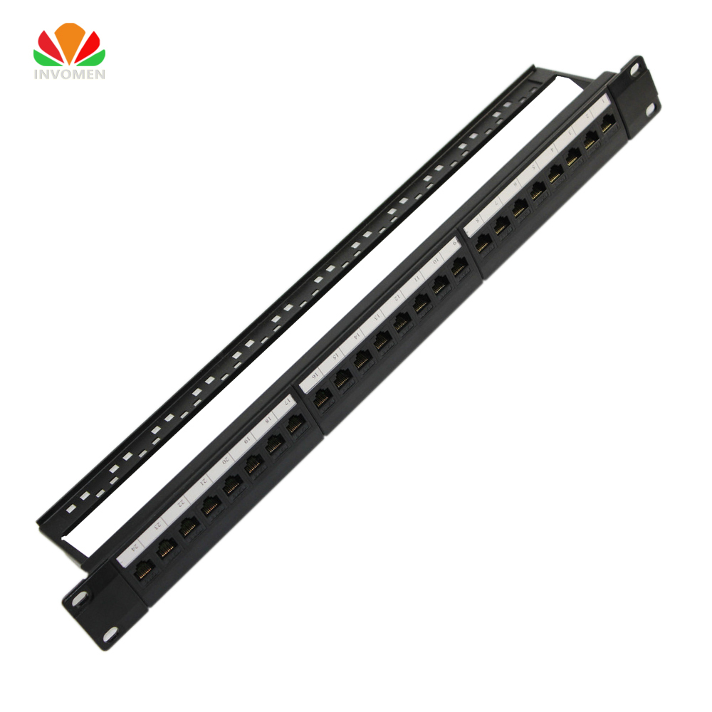 19 1U Cabinet Rack Straight-through 24 Port CAT6 Patch Panel RJ45 Network Cable Adapter Keystone Jack Modular Distribution Frame 24 pcs rj45 modular network pcb jack 56 8p w led 4 ports