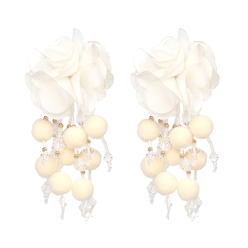 JUJIA Bohemian Long Flower Earrings Pom Pom Big Statement Earrings Fringe Drop Earrings Women Jewelry 10