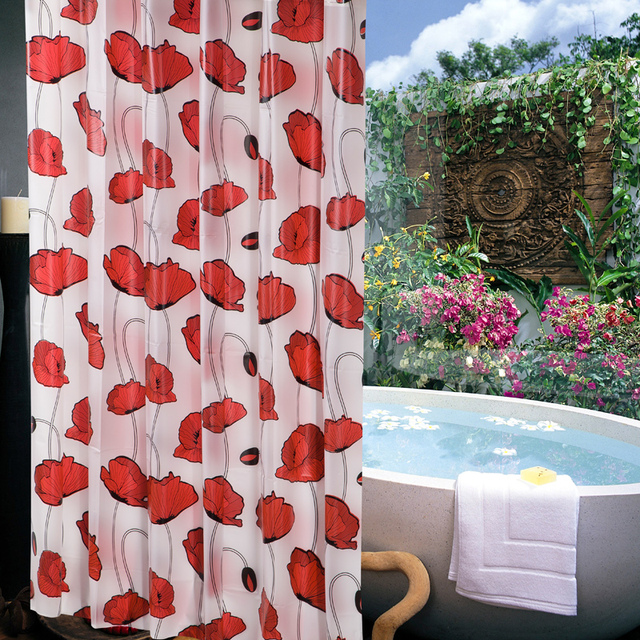 Modern Red Flower Waterproof Fabric Shower Curtains For Bathroom With Hooks