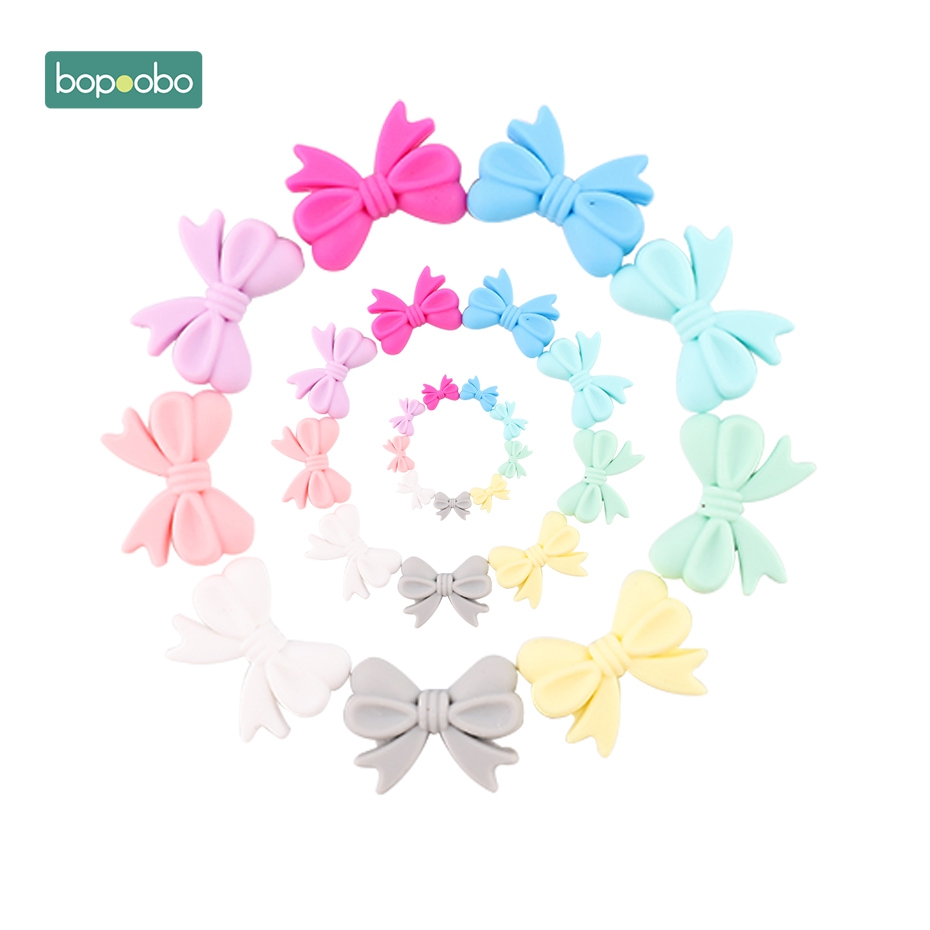 Bopoobo 5pc Mini Silicone Bow Small Tie Beads For Teething Holes DIY Beads 2cm Rosette BPA Free Silicone Beads Baby Teether