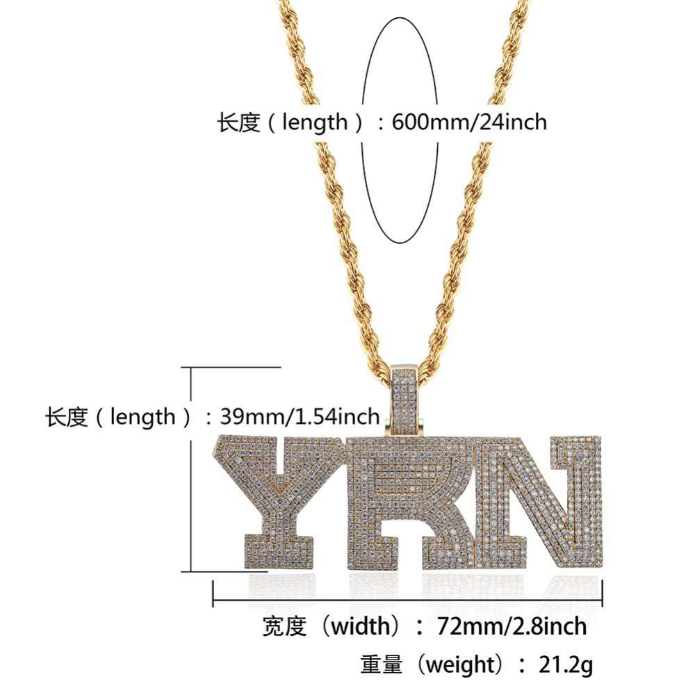 724c150bdaccf TOPGRILLZ Iced Out Bling YRN Letters Pendant Necklace With Tennis Chain Men  Gold Silver Color Necklace Hip Hop Fashion Jewelry