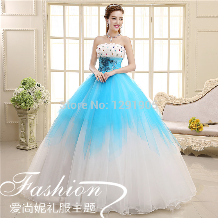Blue And White Ball Gowns Free ship white...