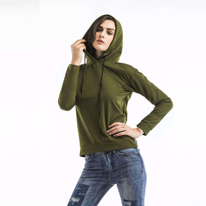 Drawstring Army Green Hooded Sweatshit Tracksuit Women Fashion Solid Color Side Zipper Hoodie Woman Coat Sudaderas Mujer 2018