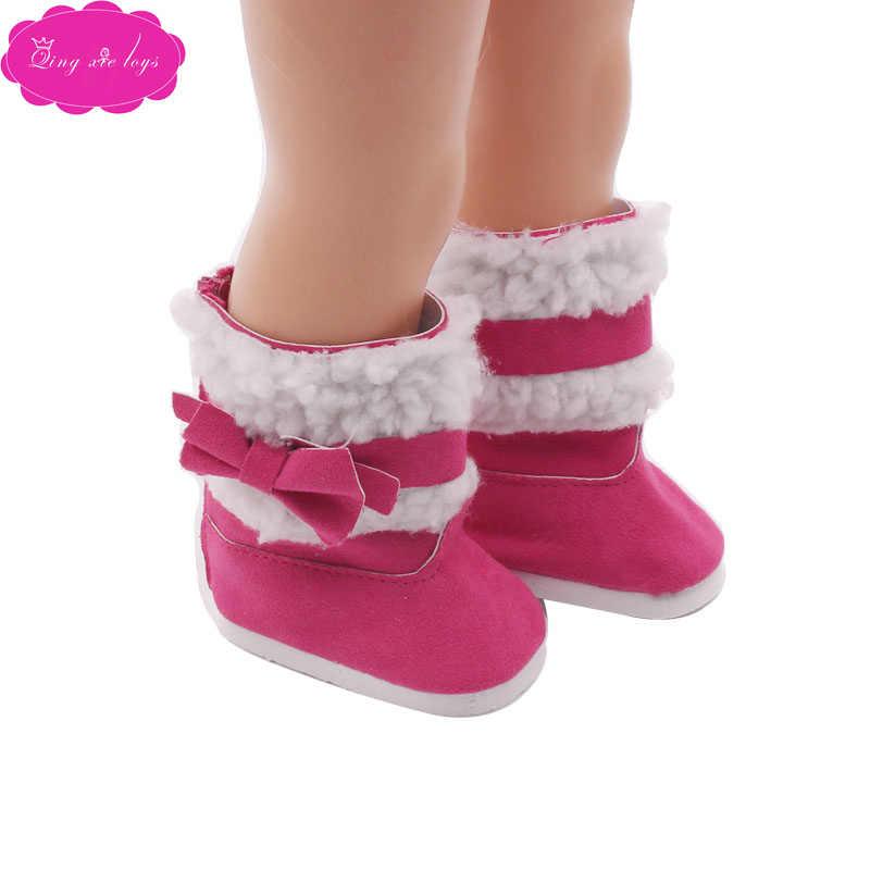 Yeni bebek ayakkabıları topuklu güzel kışlık botlar 5 renkler fit 18 inç kız bebek ve 43-cm bebek bebek ayakkabı aksesuarları s56-s142