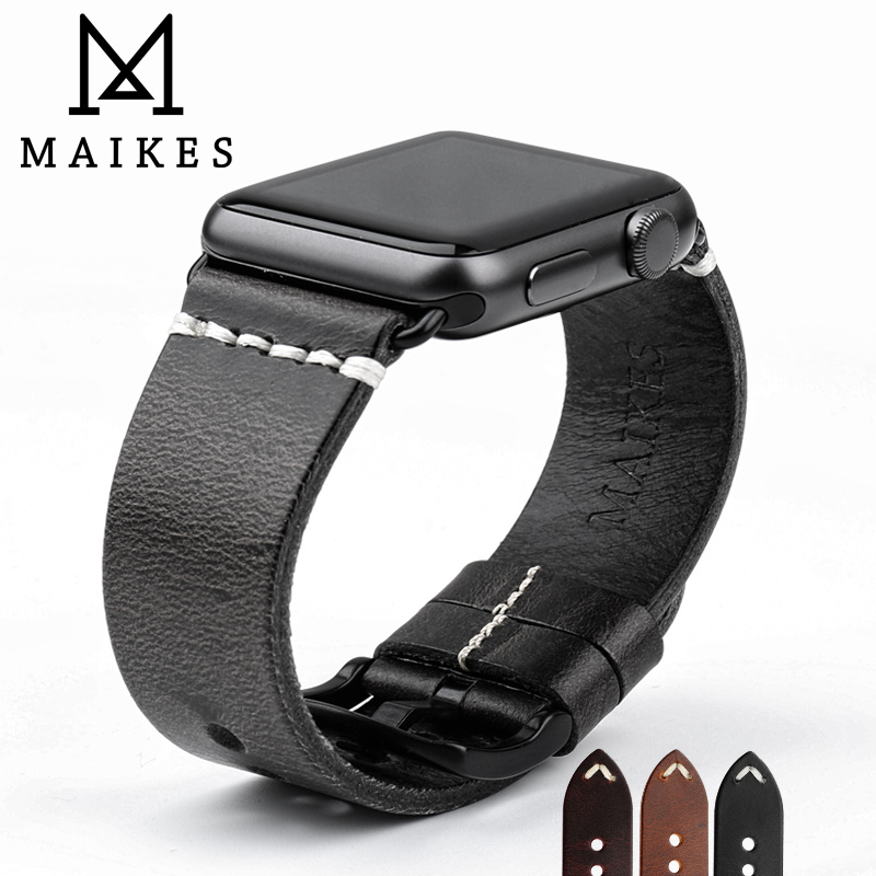 MAIKES New Arrival Genuine Leather Watch Band For Apple Watch Strap 42mm 38mm Series 3/2/1 Black iWatch Bracelet Watchband все цены
