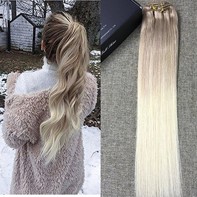 Full Shine Ombre Balayege Clip In Hair Extensions Color 18 Ash
