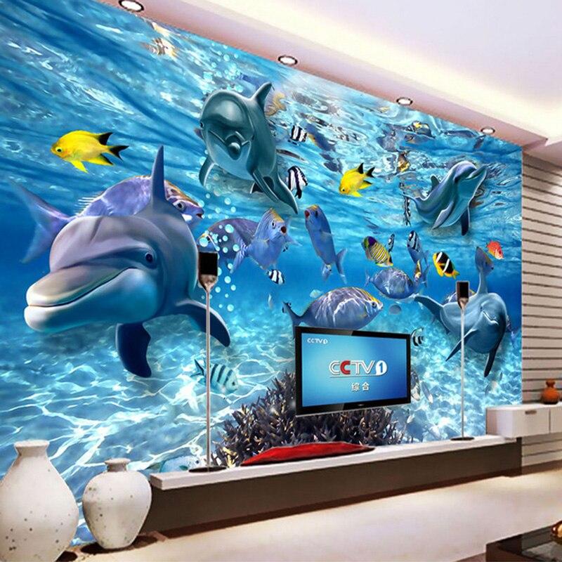 Custom 3D Photo Wallpaper Underwater World Dolphin Fish Children Room Bedroom Living Room TV Decoration Wall Mural Wallpaper