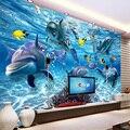 Personalizado 3D Foto Papel De Parede Mundo Subaquático Peixe Golfinho Crianças Sala Quarto TV Sala de estar Decoração Pintura Mural Da Parede Papel De Parede