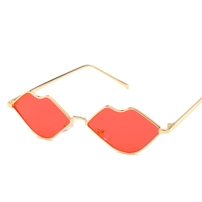 Lips Shape Sunglasses Women Sexy Mouth Sun Glasses Clear Color Metal Frame Eyewear Party Ladies Cateye Small