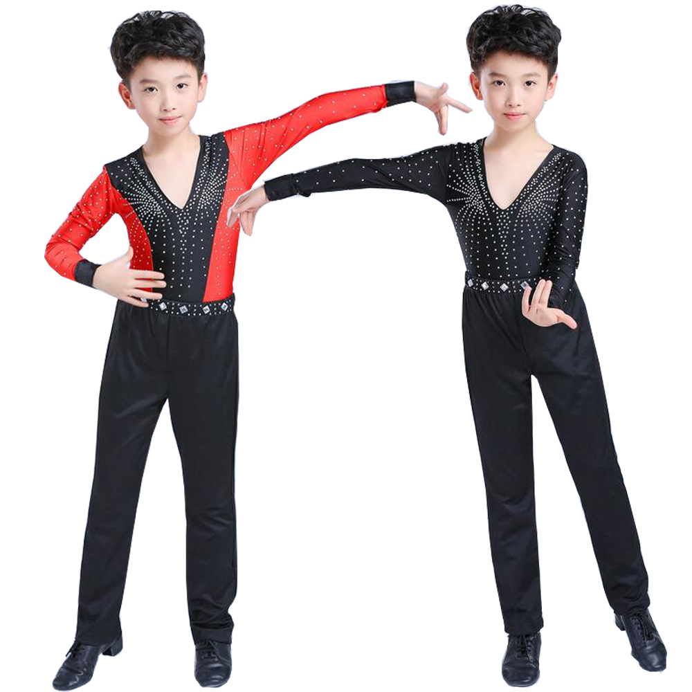 Kids Professional Ballroom Latin Salsa Dance Wear Competitions Costumes Shirt Tops Pants Boys Sequined Dancing Stage Outfits