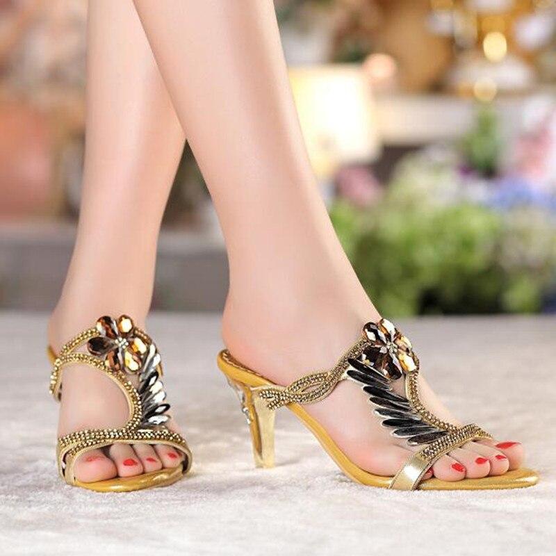 Cuir Femmes Sandales Ouvert Hauts Pantoufles Bout Talons Sexy Été Chaussures Diamant À Strass 2018 De Véritable Gold Printemps j54RAL