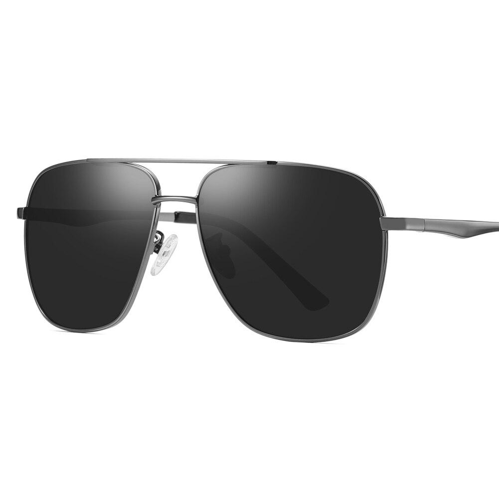 Brand Fashion Sunglases Man Oversized Square Metal Frame UV400 Protection Polarized Sunglasses Green Sun Glasses for Men Driving