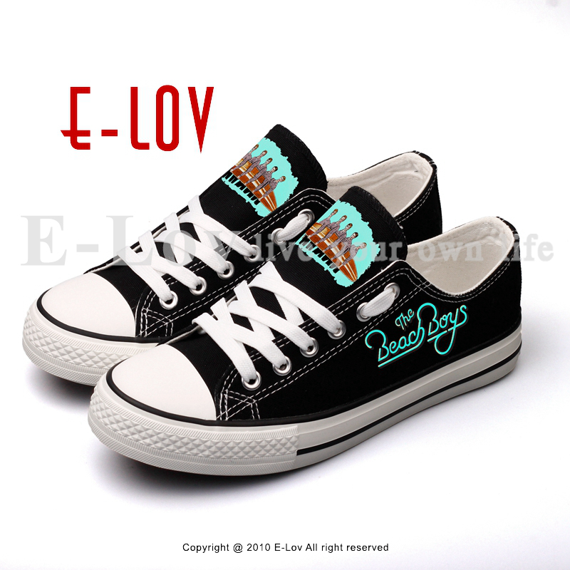 E-LOV Hip Hop Style Rock Band Printed Canvas Shoes Lovers Couple Unisex Flat Leisure Shoe Lace-up Black Walking Espadrilles e lov women casual walking shoes graffiti aries horoscope canvas shoe low top flat oxford shoes for couples lovers