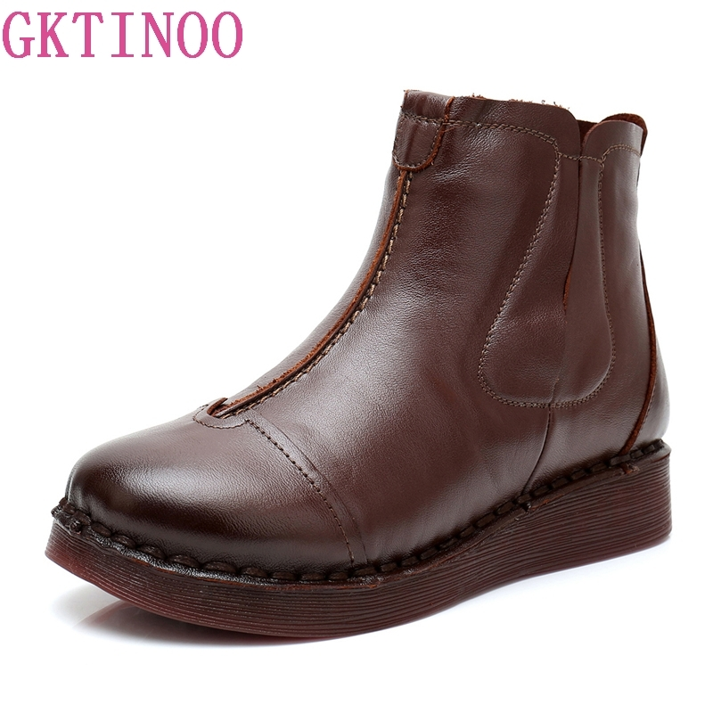 GKTINOO Handmade Ankle Boots Warm Velvet Martin Flat Boots Genuine Leather Shoes Winter Snow Boots Botines Mujer Women Shoes yaerni new 2017 women winter ankle boots handmade velvet flat with boots shoe comfortable casual shoes women snow boots