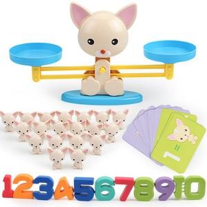 Image 3 - Montessori Math Balancing Scale Number Board Game Educational Toy Monkey Pig Dog Animal Figure Baby Preschool Math Toys