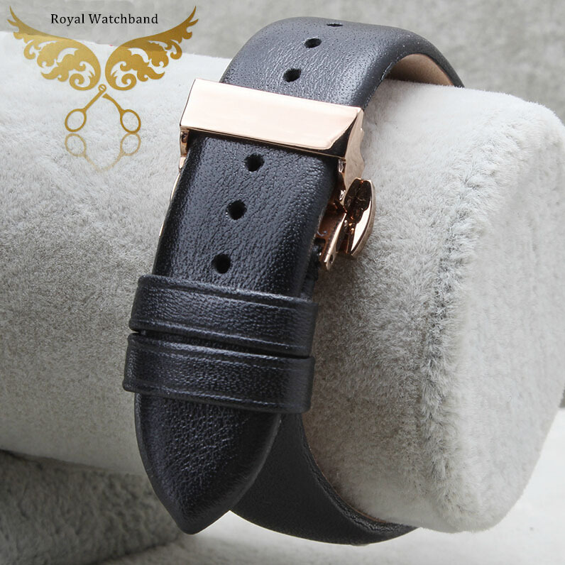 20mm 22mm New Black Smooth Genuine Leather Watch Band Strap Bracelet Rose Gold Butterfly Stainless Steel Clasp - watch band Franchised store