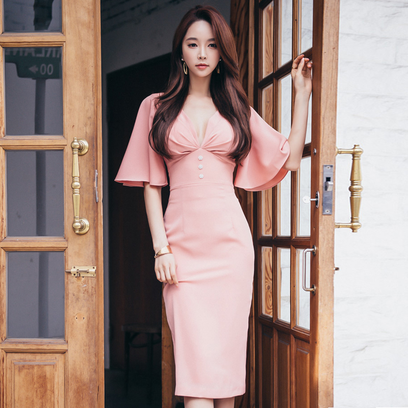 Classy Korean style original design sexy elegant pink party ball club night dress office work formal dress tight mid dress