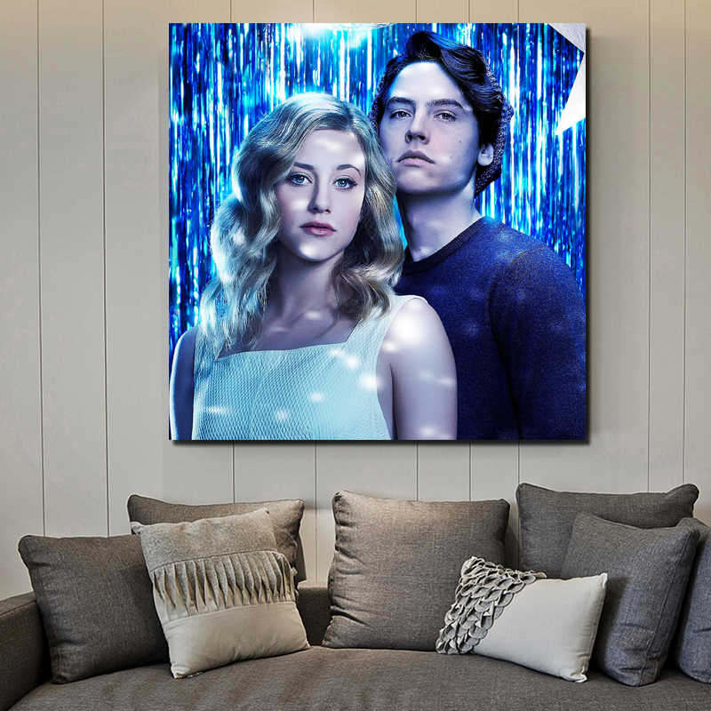 Riverdale lili Reinhart And Cole Sprouse Canvas Painting Living Room Home Decoration Modern Wall Art Oil Painting Poster Picture