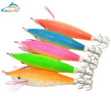 5PCS 11cm 3D eyes 5 colors luminous squid hook artificial jigs  wood shrimp fake lures octopus fishing baits