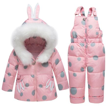 Winter Children Clothing Sets Girls Warm Parka Down Jacket for Baby Girl Clothes Kids Toddler Coat Snowsuit Wear Toddler 1 2 3 Y new winter girls warm clothing sets fur hooded jacket toddler dot white dark down coat trousers waterproof warm snowsuit clothes
