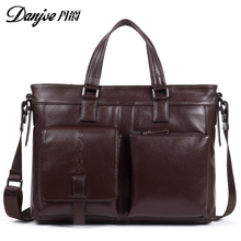 Danjue Real Cow Leather Business Men 13 14 Inch Laptop Handbags High Quality Leather Fashion Black Briefcase Male Shoulder Bag
