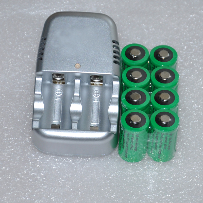 8pcs 3V CR2 rechargeable lithium ion battery cell 800MAH + 1pcs charger replace for 3.2v CR2 CR15270 for polaroid camera